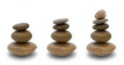 three stone cairns